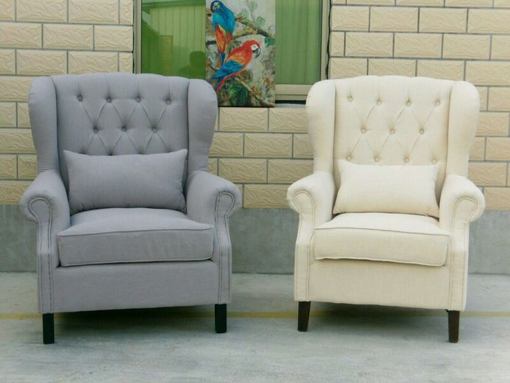 French Wing Back Tufted Fabric Arm Chair  $550