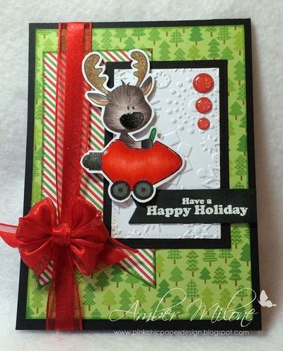 Amber Milone: Pink Chic Paper Design for C.C. Designs - 9/29/14 (cc designs: Rodney's Ride) (Pin#1: C.C.Designs.  Pin+: Christmas: Reindeer...)