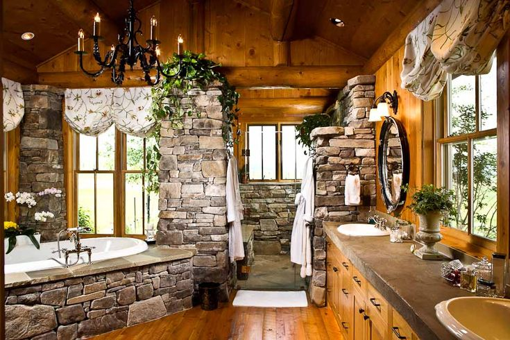 Log & Stone #bathroom