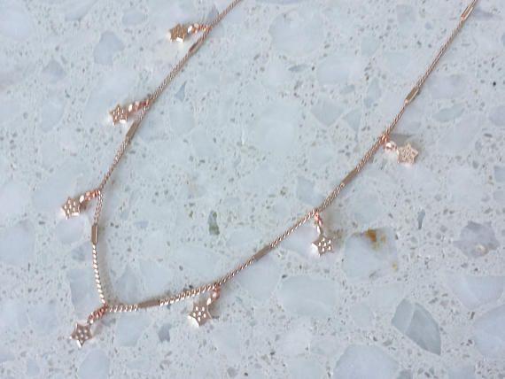 Night Sky Necklace / Starm Charm Choker / Multi Charm Choker /  #littlefierce76 #etsyshop #jewelry #fashion #rosegold #rosegoldnecklace #layeringpiece #chokers
