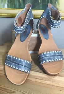 16803b1d1f2 PIKOLINOS Blue Leather Alcudia GLADIATOR Ankle Strap Sandals 40 Shoes