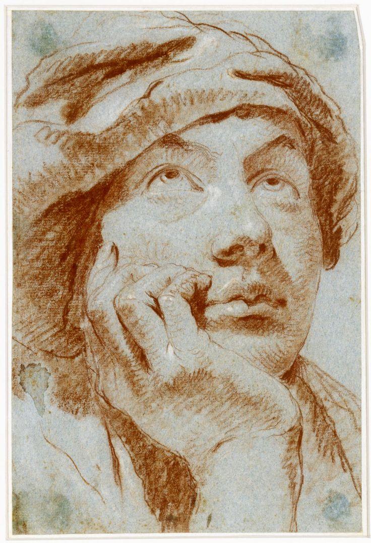 Giovanni Battista Tiepolo (1696–1770), Portrait eines jungen Mannes mit Barett, um 1750, Rötel und weiß gehöht