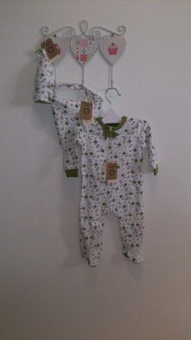 Baby girl set - baby grow, scarf bib and bottle cover. All made from 100% organic cotton
