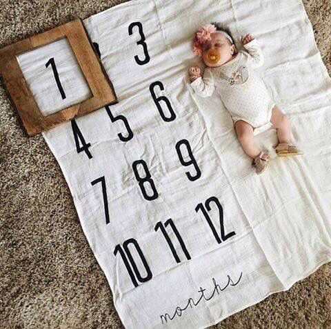 Cute idea! Quilt for baby's monthly picture