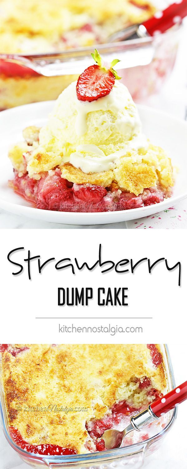 Strawberry Dump Cake - probably the easiest cake ever! Fresh strawberries, cake mix and butter dumped in a cake pan, baked and served with vanilla ice cream. Yum! (Lemon Icecream Cake)