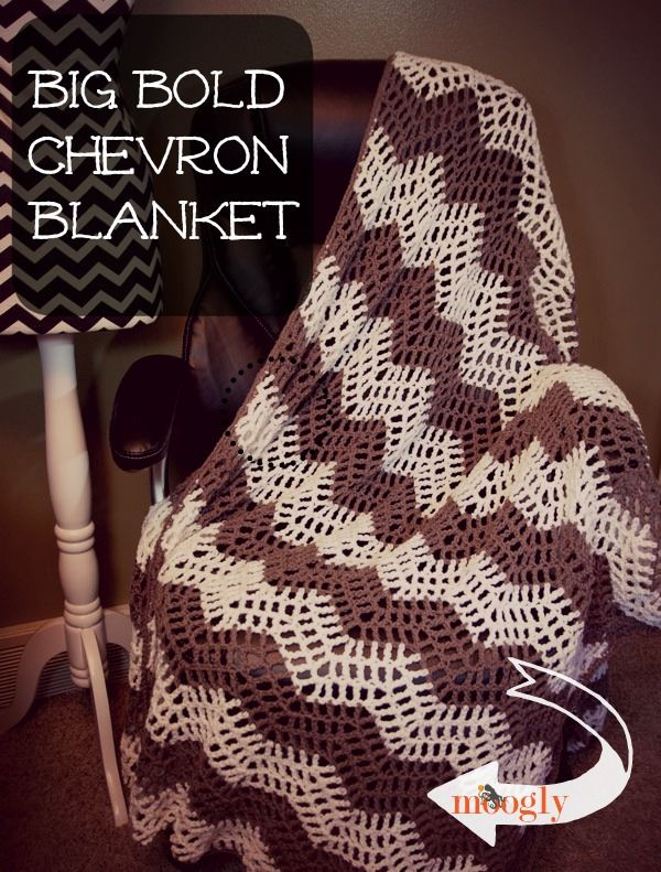 The Big Bold Chevron Blanket features an open mesh pattern that is perfect for cool spring days and summer nights, and it works up fast fast fast!
