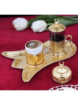 Osmanlı Motifli Lale Tepsili Tek Kişilik Kahve Fincanı Seti - Altın Sarı
