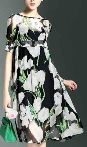 Floral Print High-Waist Dress-Black
