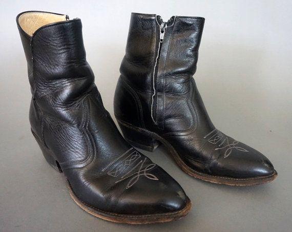 bd1a78e4c6b Vtg Boulet Chelsea Western Beatle Boot || Black Leather Ankle Boot ...