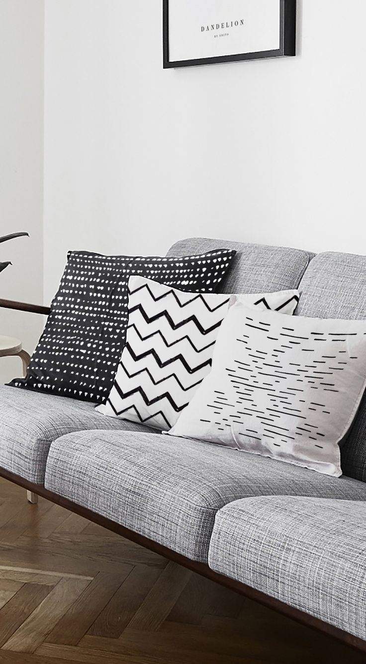 Black, grey and white minimalist cushion cover