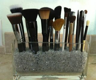 DIY Makeup Brush Holder - I need to make this because I'm tired of finding cat hairs and all kinds of fun fuzz on my makeup brushes.