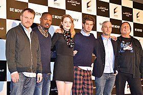 Andrew Garfield, Emma Stone, The Amazing Spider-Man 2 (左から)マーク・ウェブ監督、ジェイミー・フォックス、エマ・ストーン、アンドリュー・ガーフィールド、プロデューサーのマット・トルマック&アビ・アラド「アメイジング・スパイダーマン2」