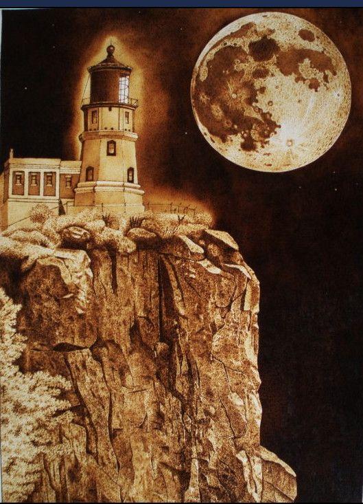 Lighthouse Communing With Moon Pyrography Wood Burning