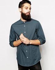 ASOS - Camicia elegante a maniche lunghe con collo serafino