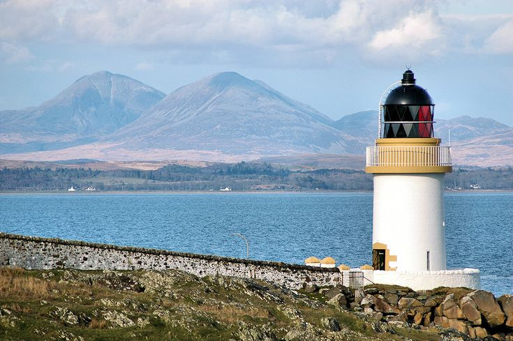 Port Charlotte Lighthouse and the Paps of Jura, Isle of Islay