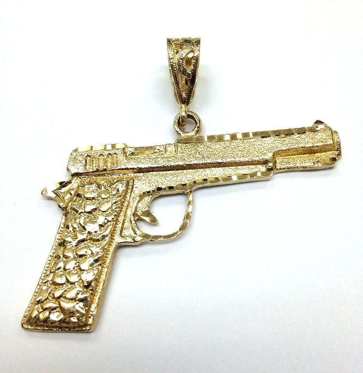 41 best solid gold pendants diamonds gemstones images on large 10k yellow gold 2 x 15 very detailed handgun pendant 1197 grams mozeypictures Gallery