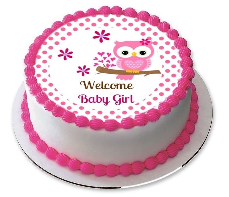 Welcome Baby Girl Pink Owl Baby Shower Edible Cake Cupcake Image Topper