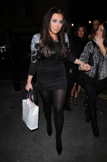 Lauren Goodger after party in opaque black tights London Feb 02, 2012