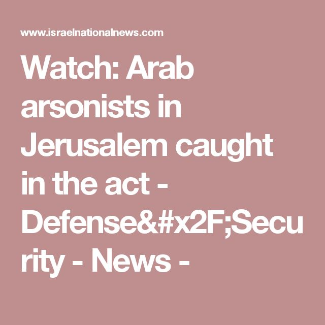 Watch: Arab arsonists in Jerusalem caught in the act - Defense/Security - News -