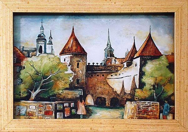 Warszawska Starówka malowane na szkle Danuta Rożnowska-Borys