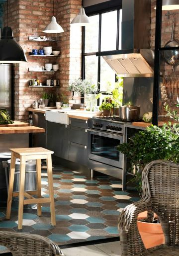 All the things I love - brick, Industrial, Wicker, wacky floors, drawers in the kitchen and shelves On top
