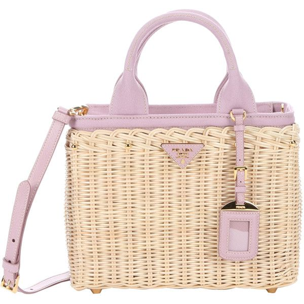 Prada Natural Wicker And Rose Canvas Convertible Tote (389407501) ($1,195) ❤ liked on Polyvore featuring bags, handbags, tote bags, zip top canvas tote, prada tote bag, studded tote, prada purses and hand bags