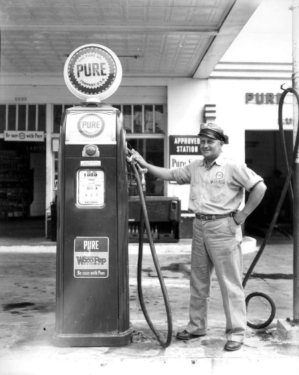 Vintage pictures of gas station attendant
