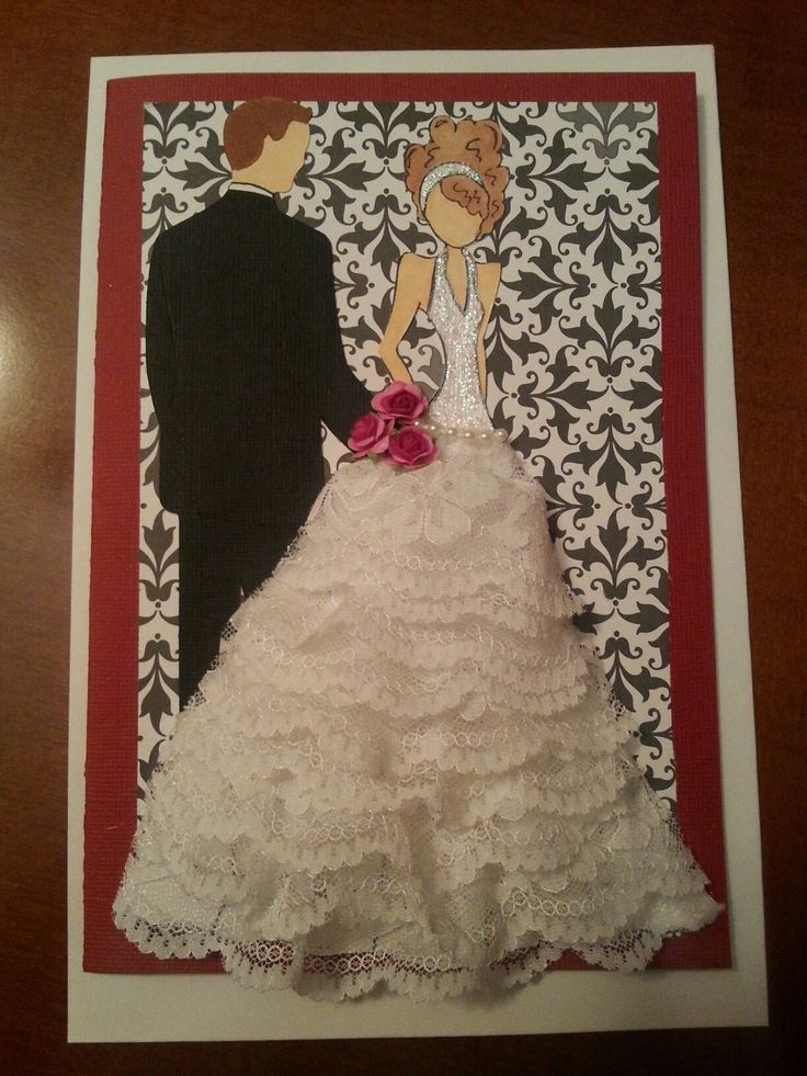Wedding card using Julie Nutting stamp and groom from Cricut Wedding cartridge. Made by Tracy Pickens