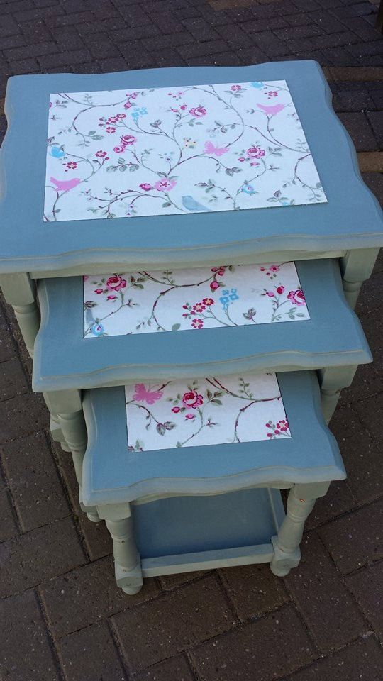 Nest of 3 Tables Painted in Annie Sloan Chalk Paint by RoxFolly, £55.00