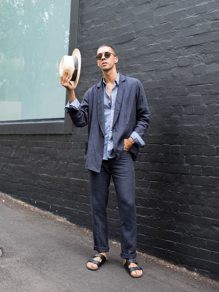 Navy Blue Linen Suit from Jac+Jack with Birkenstocks. Menswear, Mens Fashion Style & Outfit inspo by Blogger MR TURNER. Spring Summer