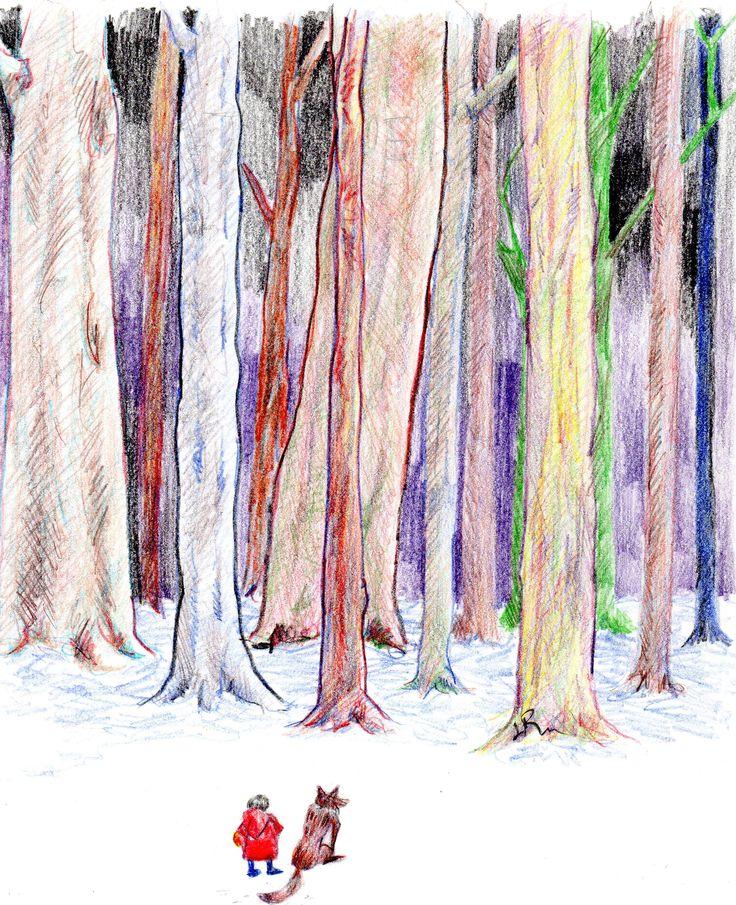 """Serie """"Los límites del bosque"""", -Miedo1-  lápiz de color sobre papel"""