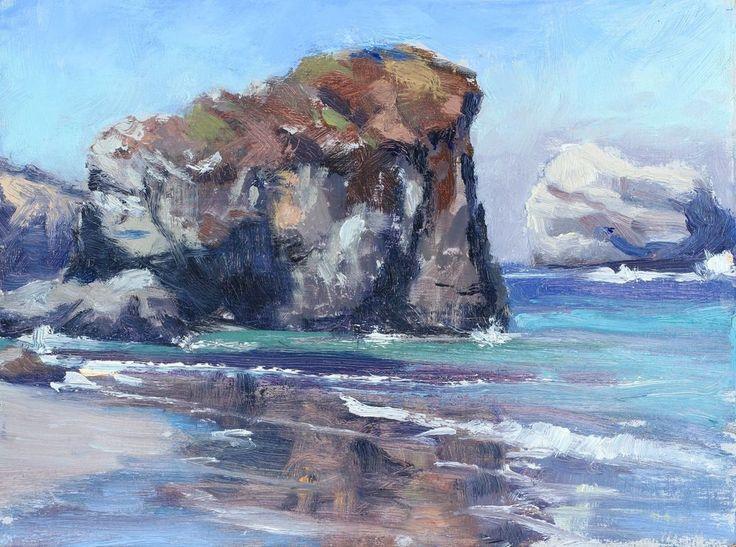 California plein air impressionism original painting Big Sur Coast  by Bouret #Impressionism