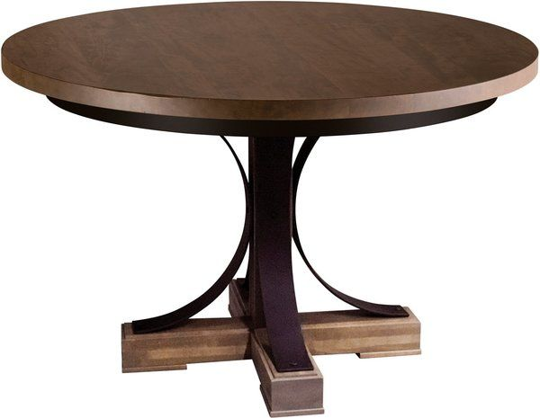 Amish Studio 48 Round Dining Table Quick Ship We Re Combining Wood And Metal Here For A Contemporary L 48 Round Dining Table Dining Table Round Dining Table