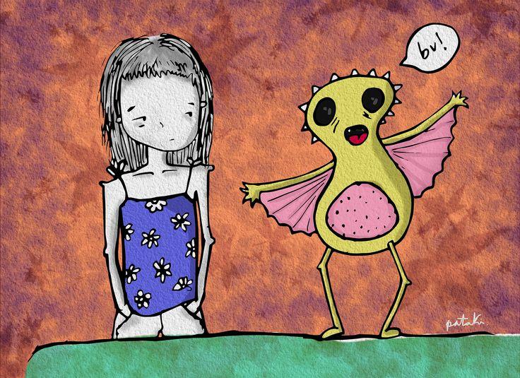 """Ilustración digital """"la vida intentando asustarme"""", belen caracoles pataki"""
