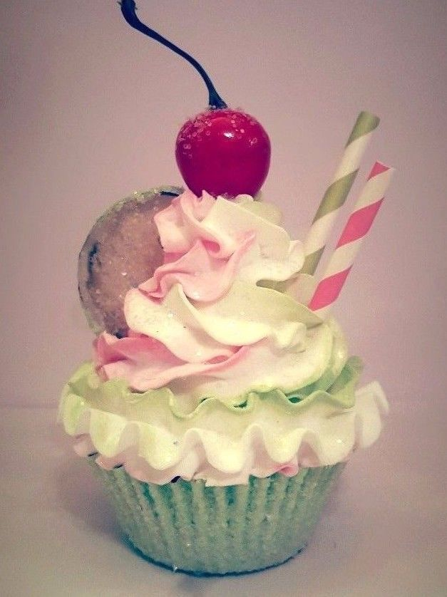 CHERRY LIME FAKE CUPCAKE, PHOTO PROPS, KITCHEN CUPCAKE DECOR, GOURMET CUPCAKES #FakeCupcakeCreations
