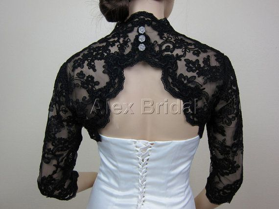 Sale-Black 3/4 sleeve bridal bolero bridal jacket bridal shrug alencon lace bolero jacket wedding bolero jacket keyhole back-was 129.99