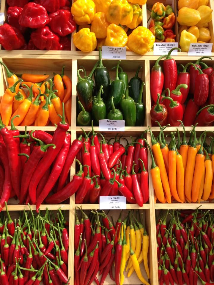 Assorted peppers at a market in Budapest, Hungary