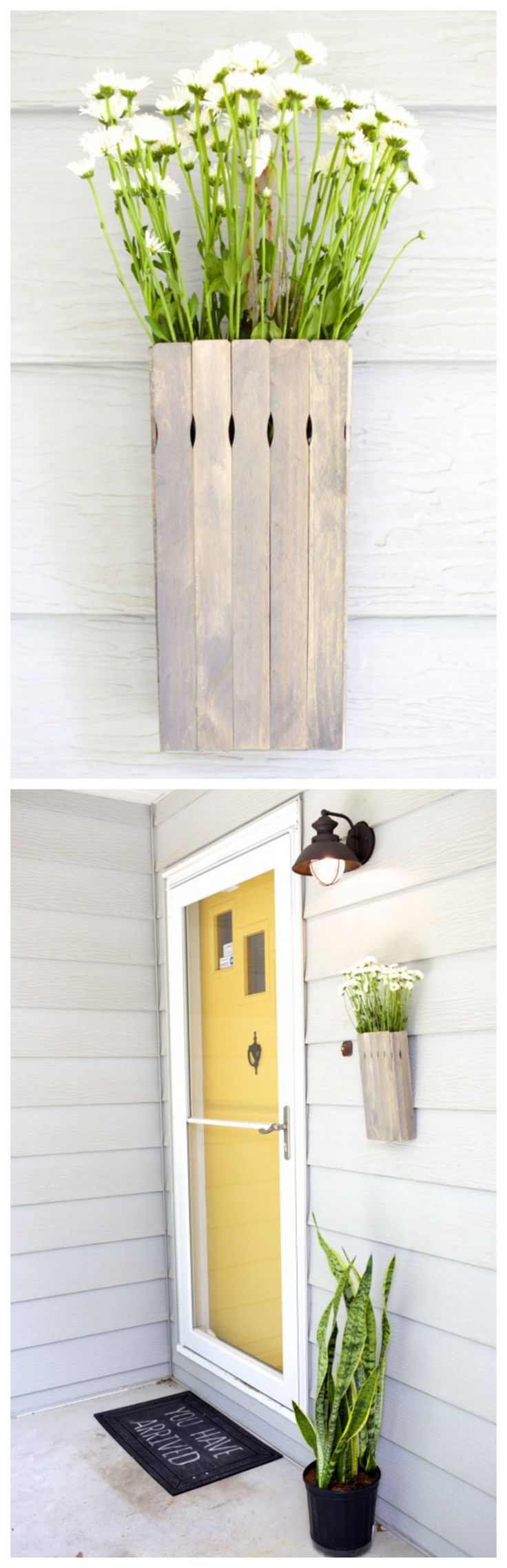 "DIY Hanging Flower Box -- paint stirrers are the secret ""ingredient"" in this homemade home decor"