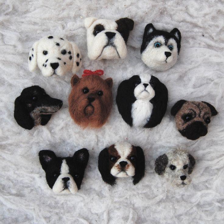 needle felted dog brooches