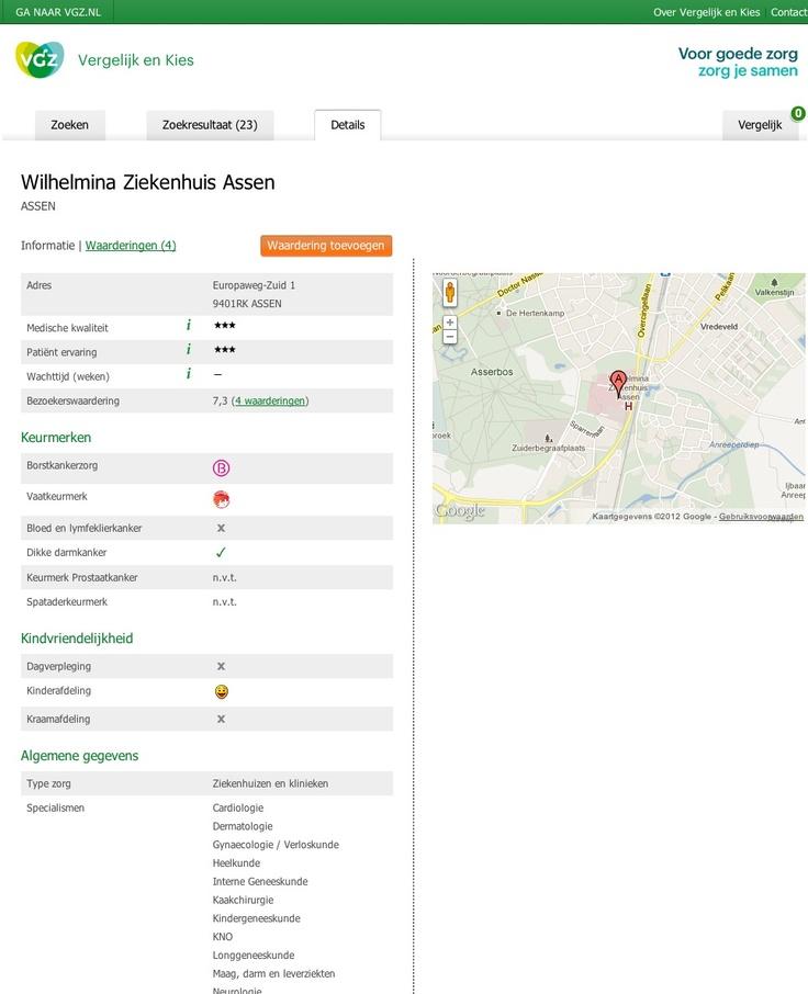 VGZ Zorgvinder - ziekenhuis details
