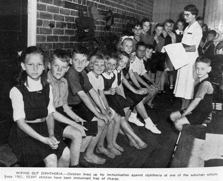 Brisbane schoolchildren waiting to be immunised against diphtheria, 1943
