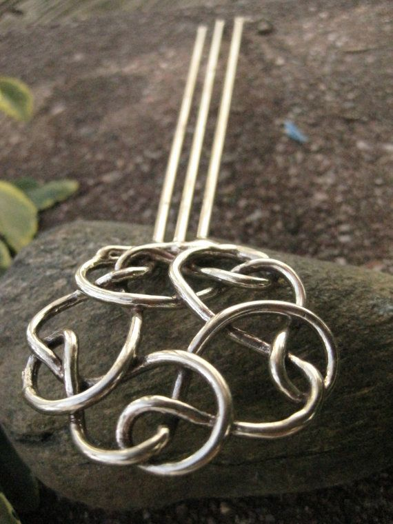 Round Metal Celtic Knot Hair Stick by TheBronzeJewelers on Etsy, $ 35.00
