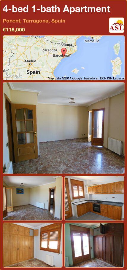 4-bed 1-bath Apartment in Ponent, Tarragona, Spain ►€116,000 #PropertyForSaleInSpain