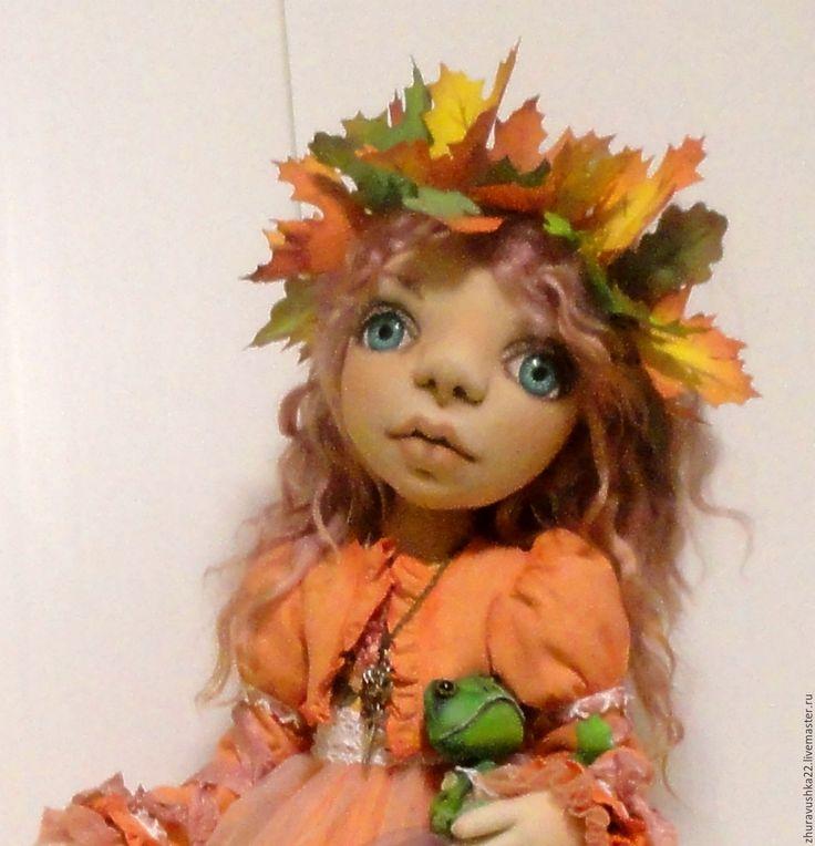 Купить Кукла интерьерная текстильная. Осенняя девочка. - оранжевый, кукла интерьерная, кукла текстильная