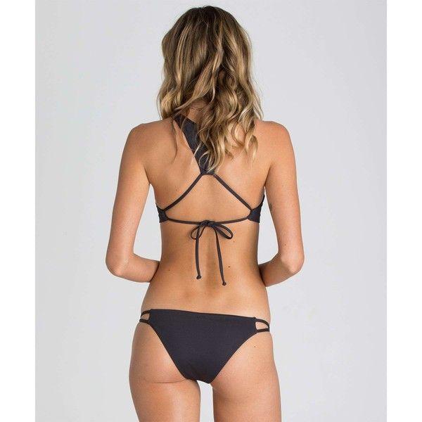 Sol Searcher Biarritz Bikini Bottom ($14) ❤ liked on Polyvore featuring swimwear, bikinis, bikini bottoms, black sands, swim bottoms, strappy bikini bottom, low rise bikini, strappy bottom bikini, billabong swimwear and bikini bottom swimwear