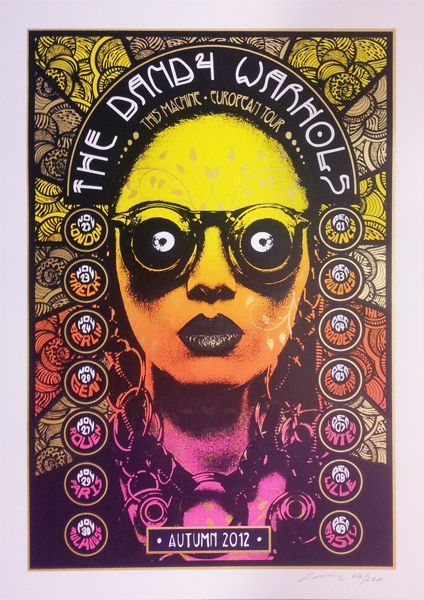 The Dandy Warhols gig poster by Adam Pobiak http://jungleindierock.tumblr.com/post/39131692211/the-dandy-warhols