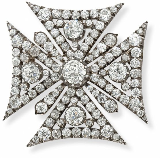 An antique diamond Maltese cross, c. 1845