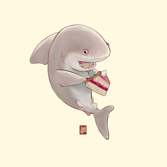 Cute shark having cake by Sheharzad-Arshad.deviantart.com on @DeviantArt