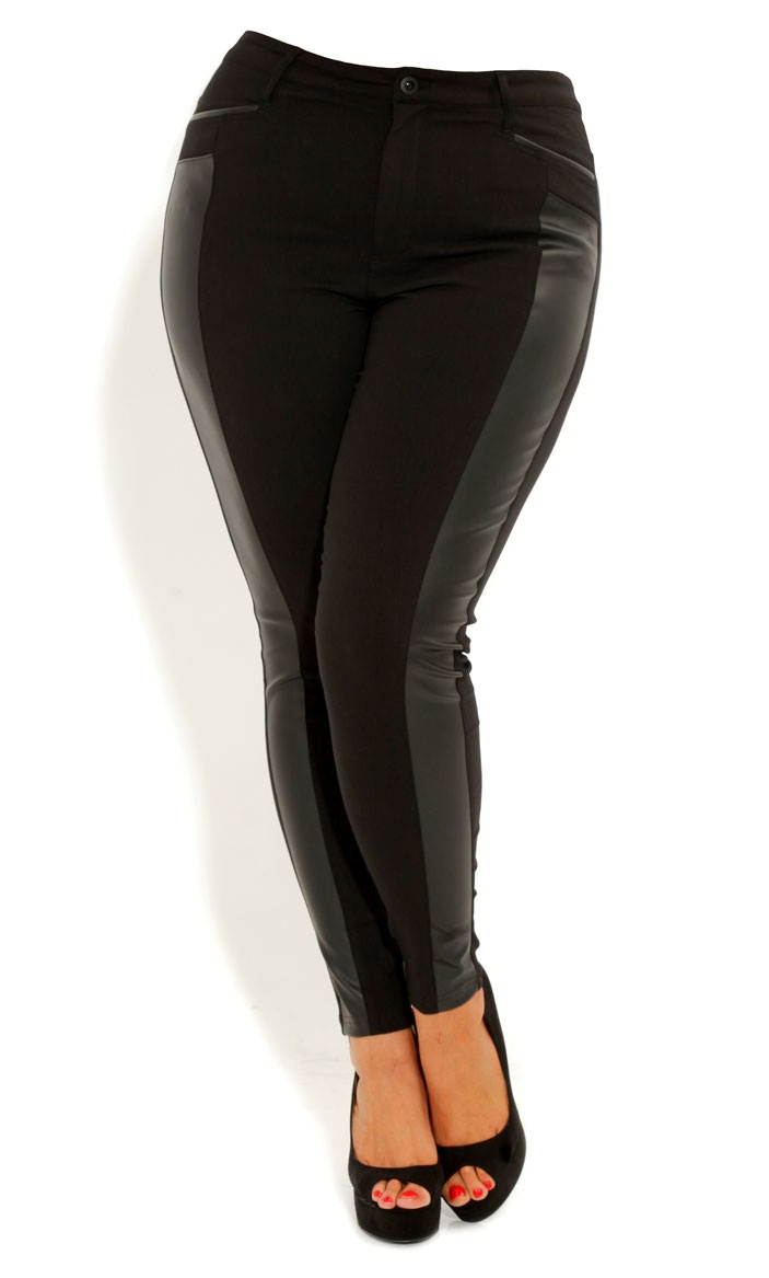 City Chic SKINNY PLEATHER PANEL PANT - Women's Plus Size Fashion