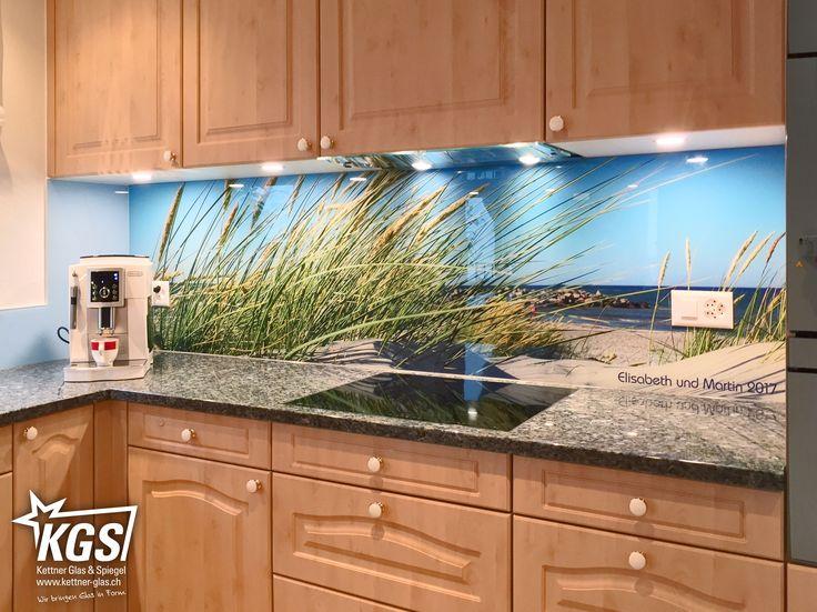 Glasküchenrückwand mit personalisiertem Nordsee-Digitaldruck auf - spritzschutz küche folie